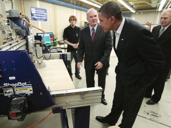 President Barack Obama visits a wind turbine manufacturing and fabrication lab at Lorain County Community College in Elyria, Ohio, Friday, Jan. 22,2010, as part of his